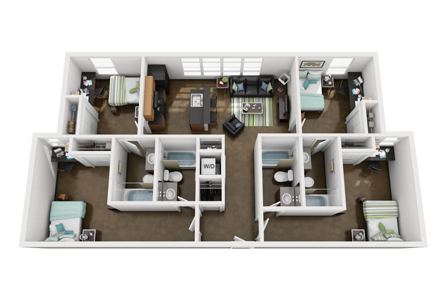 westmar student lofts floor plan 6 - 4 Bedroom Apartments